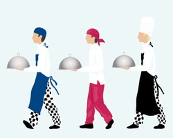a vector illustration in eps 10 format of three chefs carrying trays dressed in different styles of work wear on an ice blue background