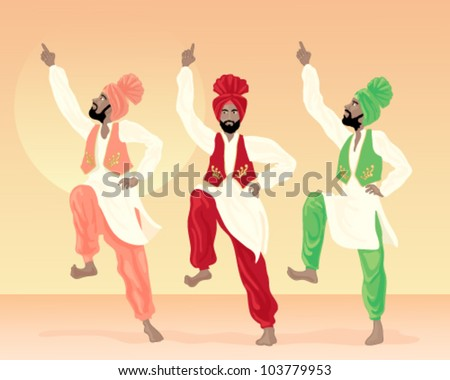 a vector illustration in eps 10 format of three male punjabi dancers dressed in colorful costumes with turbans and waistcoats on a sunset background