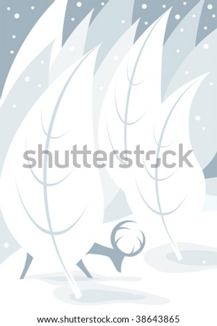 a vector illustration in tones of blue of a deer eating in a windy, snowy forrest - stock vector