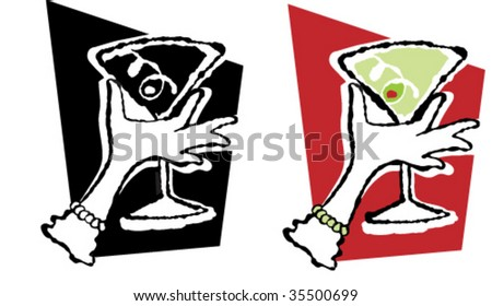 a vector illustration, including color and b/w versions of a holiday party martini held by a feminine gloved hand