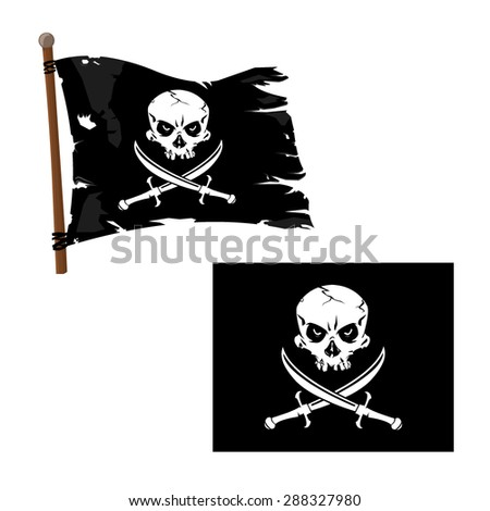 Stock Photo A vector illustration Jolly Roger Flag with Skull and crossed blades. Jolly Roger Pirate Flag icon illustration. Skull with crossed swords.