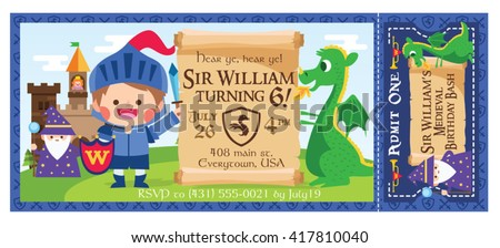 Medieval knights download free vector art stock graphics images a vector illustration little medieval knight magician and dragon ticket invitation castle party stopboris Choice Image