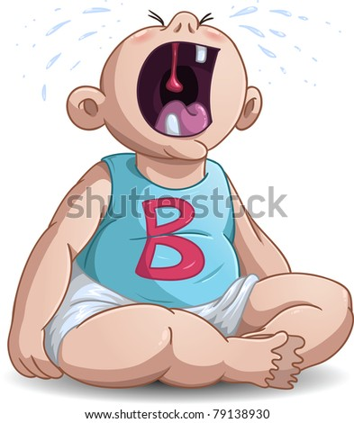 A Vector illustration of a baby crying with the letter B on his shirt.