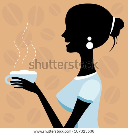 A vector illustration of a beautiful woman drinking coffee