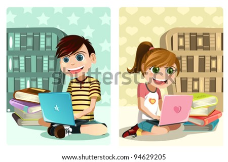 A vector illustration of a boy and a girl studying using laptop