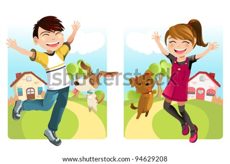 A vector illustration of a boy and a girl with a dog
