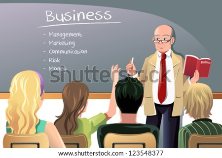A vector illustration of a business class teacher or professor teaching in college class