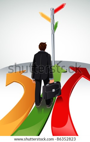 A vector illustration of a business concept, a businessman standing at a crossroads, with the sign posts pointing to multiple directions