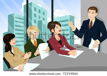 A vector illustration of a business meeting