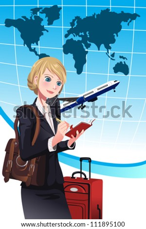 A vector illustration of a businesswoman making a travel arrangement