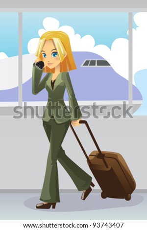 A vector illustration of a businesswoman talking on the phone pulling on her luggage at the airport