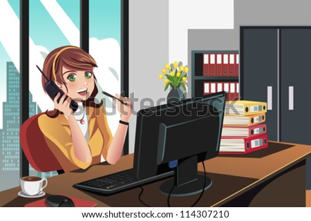 A vector illustration of a businesswoman working in the office