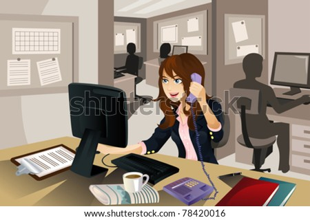 "A vector illustration of a businesswoman working in the office. Part of ""A Day In Life"" series"