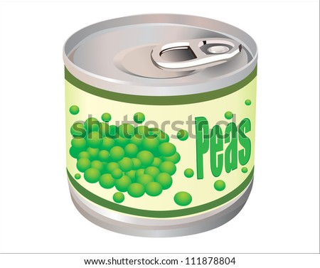 a vector illustration of a can of green peas