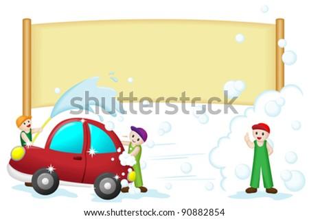 A vector illustration of a car wash banner