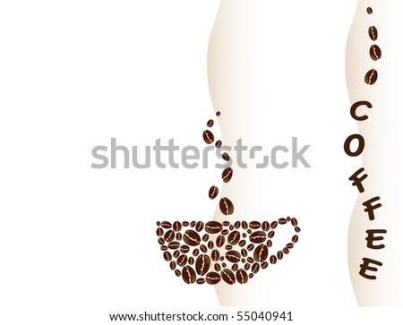 A vector illustration of a coffee cup created with coffee beans. Space for text.