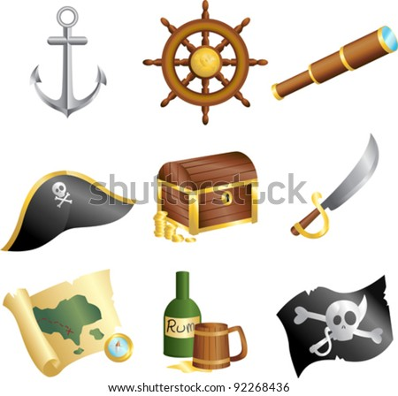 A vector illustration of a collection of pirates icons - stock vector
