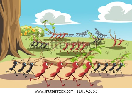 A vector illustration of a colony of ants working together, can be used for teamwork concept