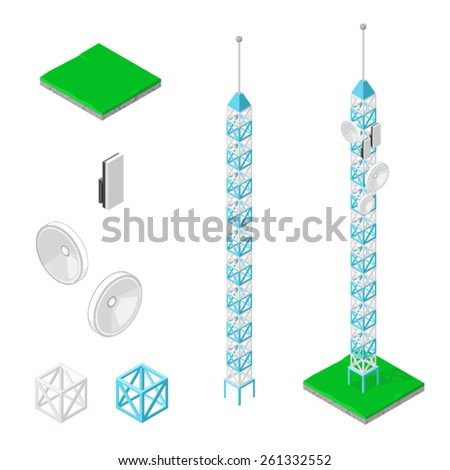 A vector illustration of a communications icon set. Mobile Communications icon set. Radio tower for wireless connections.