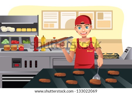 A vector illustration of a cook flipping burgers at a fast food restaurant kitchen - stock vector