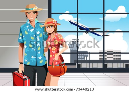 A vector illustration of a couple at the airport getting ready for summer traveling