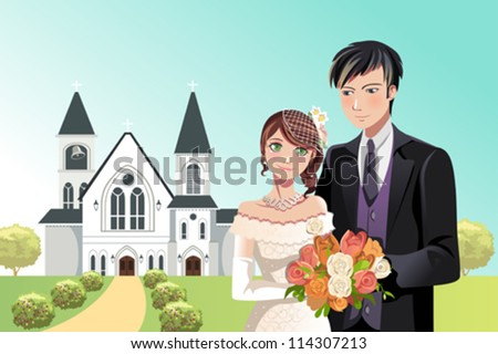 A vector illustration of a couple getting married in front of a church
