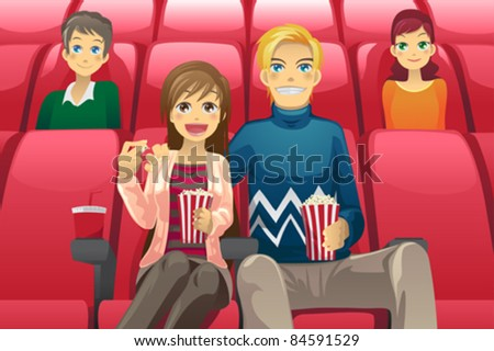 A vector illustration of a couple watching a movie in a movie theater - stock vector