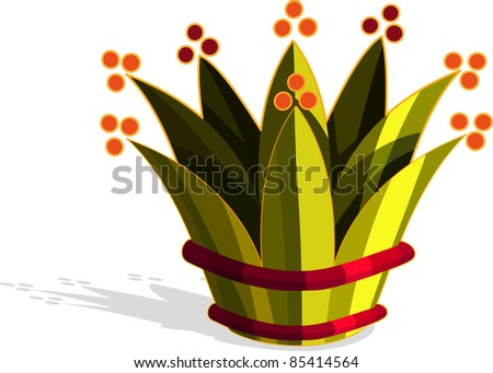 A vector illustration of a crown. All objects can be moved edited and scaled separately without quality loss.
