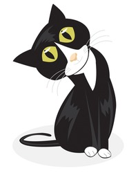 A vector illustration of a curious looking tuxedo cat sitting up and tilting his head on a white background.