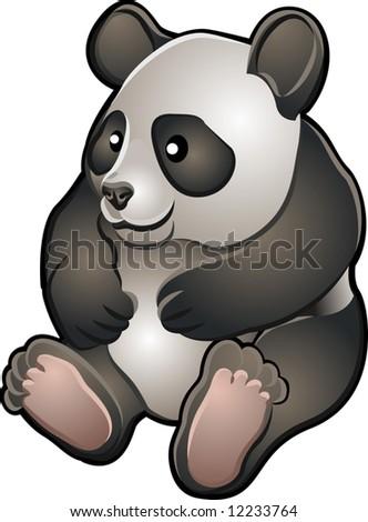 A vector illustration of a cute friendly giant panda bear