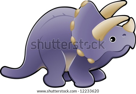 A vector illustration of a cute friendly triceratops dinosaur