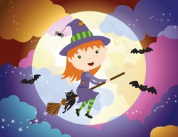 A vector illustration of a cute Halloween witch girl flying on her broom in front a spooky full moon
