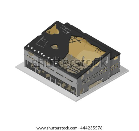 A vector illustration of a damaged factory building icon.  Isometric industrial building destroyed by war or a natural disaster.  Demolished architecture icon. Stockfoto ©