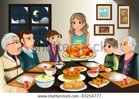 A vector illustration of a family having a Thanksgiving dinner together