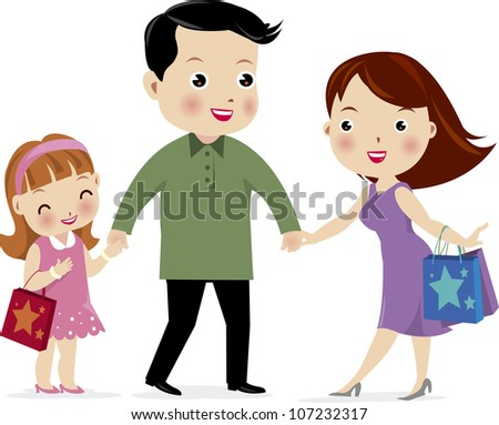 A vector illustration of a family shopping together