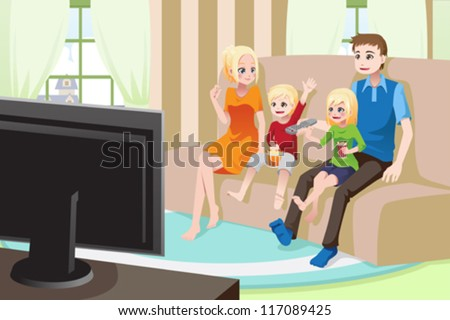 A vector illustration of a family watching movies/television at home