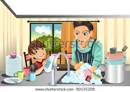 A vector illustration of a father and his son washing dishes in the kitchen