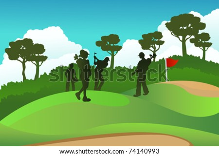 A vector illustration of a few golf players on a golf course