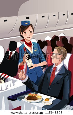 A vector illustration of a flight attendant serving a passenger in an airplane