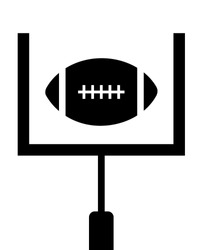 A vector illustration of a football being kicked through the uprights