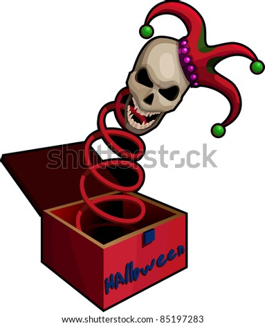 A vector illustration of a frightening  Jack-in-the-box.