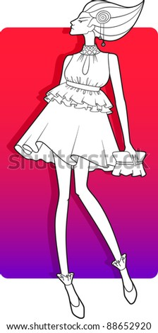 a vector illustration of a girl.