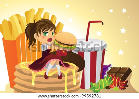 A vector illustration of a girl eating junk food