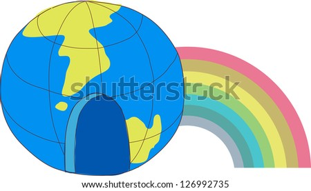 A vector illustration of a globe with colorful rainbow