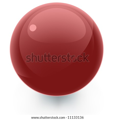 A vector illustration of a glossy red spherical design element for use as an icon, button, or ornament.