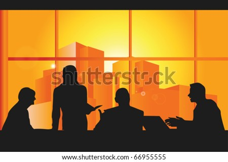 A vector illustration of a group business people in a meeting