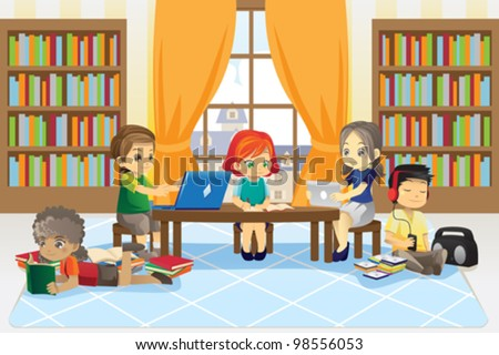 A vector illustration of a group of children in the library - stock vector