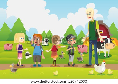 A vector illustration of a group of kids on a field trip to a farm with their teacher