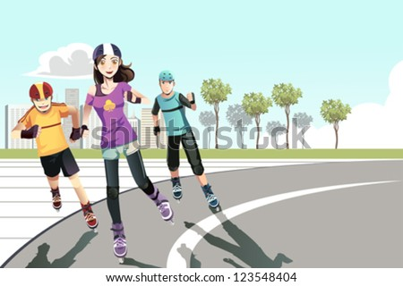 A vector illustration of a group of teenagers rollerblading in a park