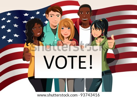 "A vector illustration of a group of young adults holding a ""Vote"" sign"